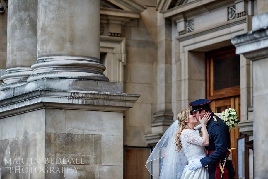 Bride and groom portrait at Brompton Oratory