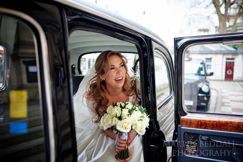 Bride in the taxi