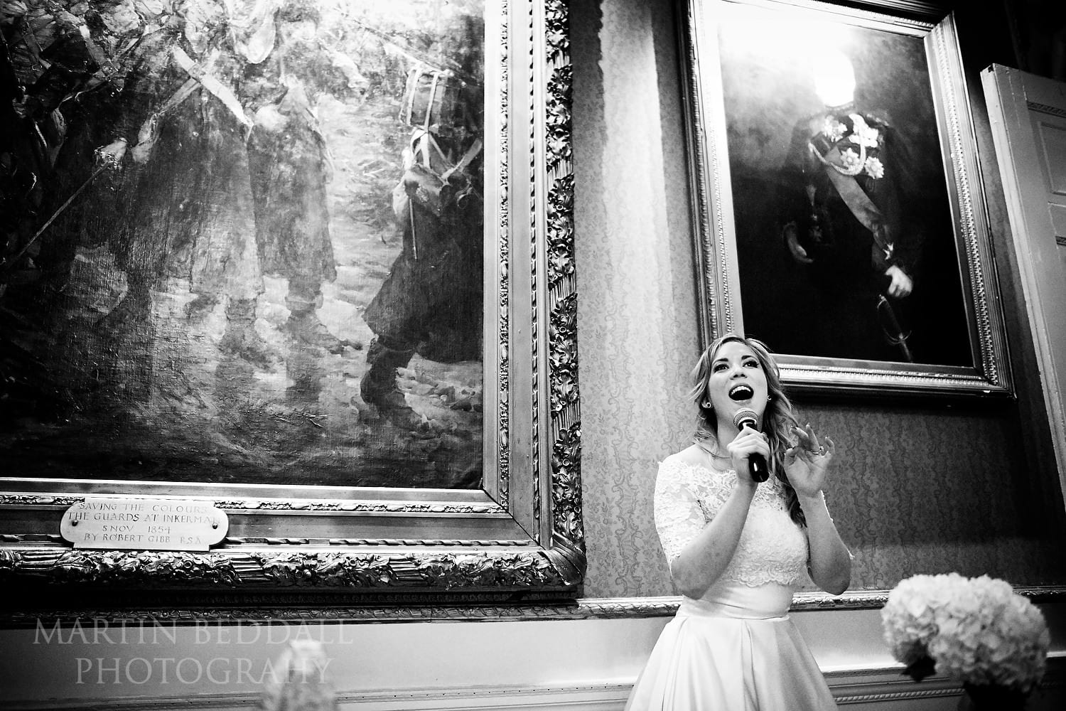 Bride speaks at In and Out Club wedding