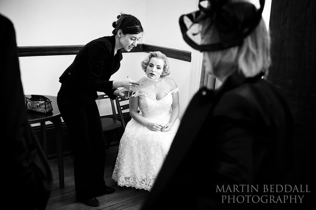 Bride checking her details with the registrar