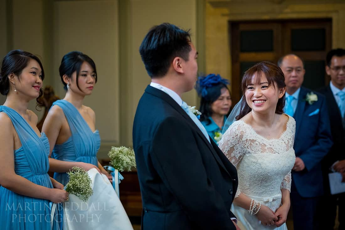Bride smiling at the groom