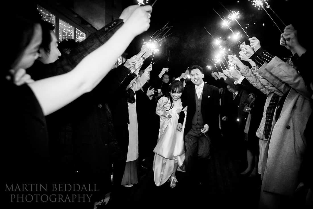 wedding sparkler run for the bride and groom