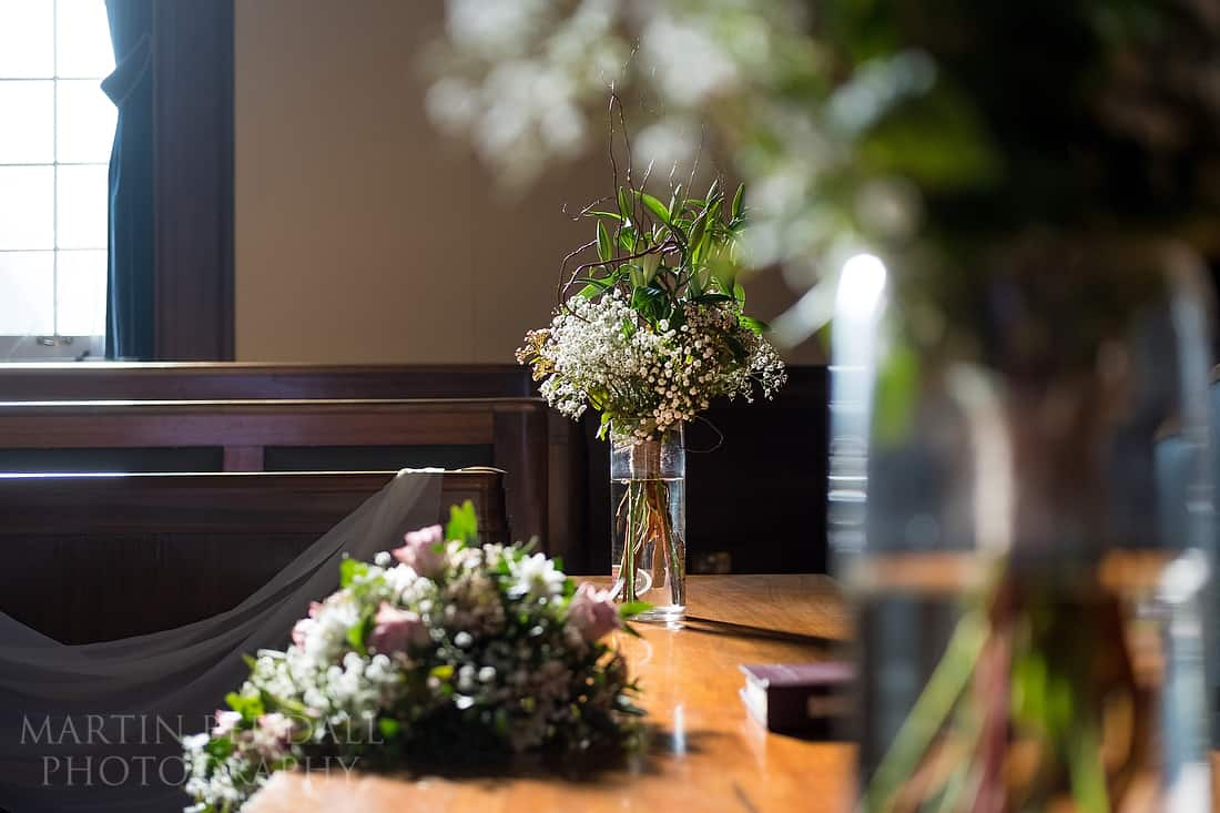 Wedding flowers in the council chamber at Worthing Town Hall