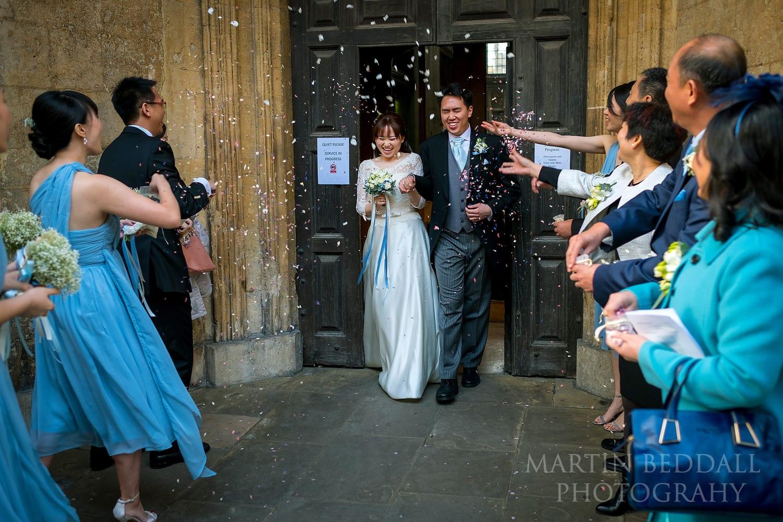 Confetti at Oxford University Church
