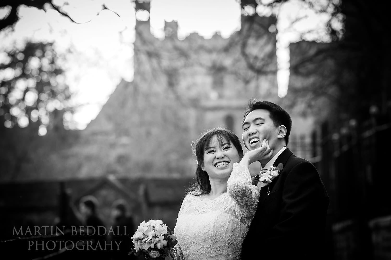 Oxford University Church wedding couple