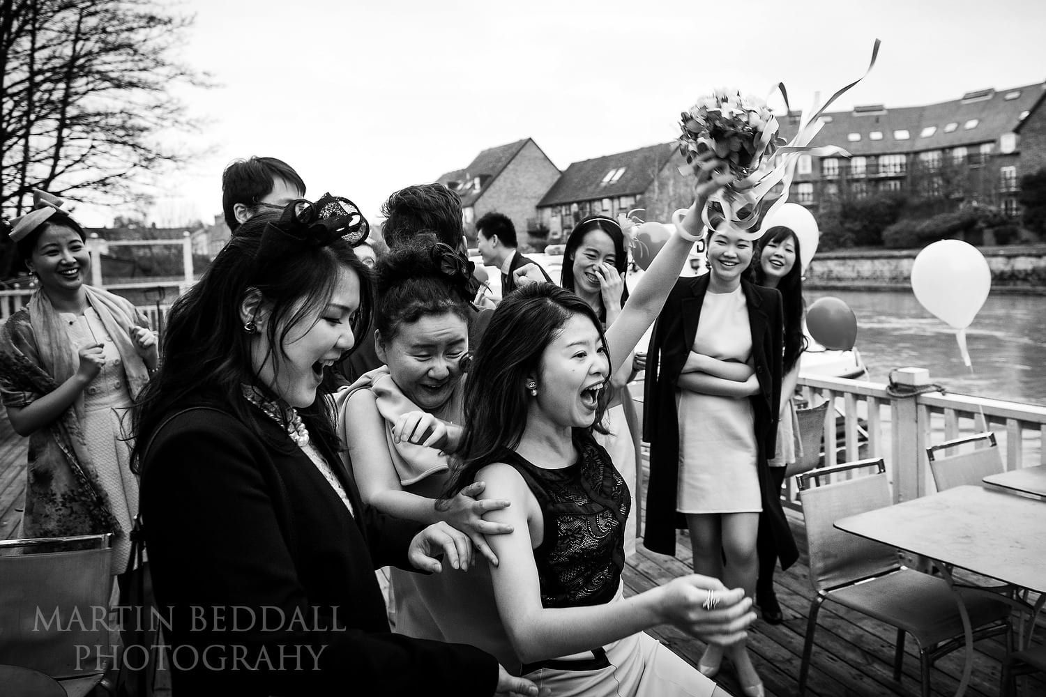 Catching the bride's bouquet