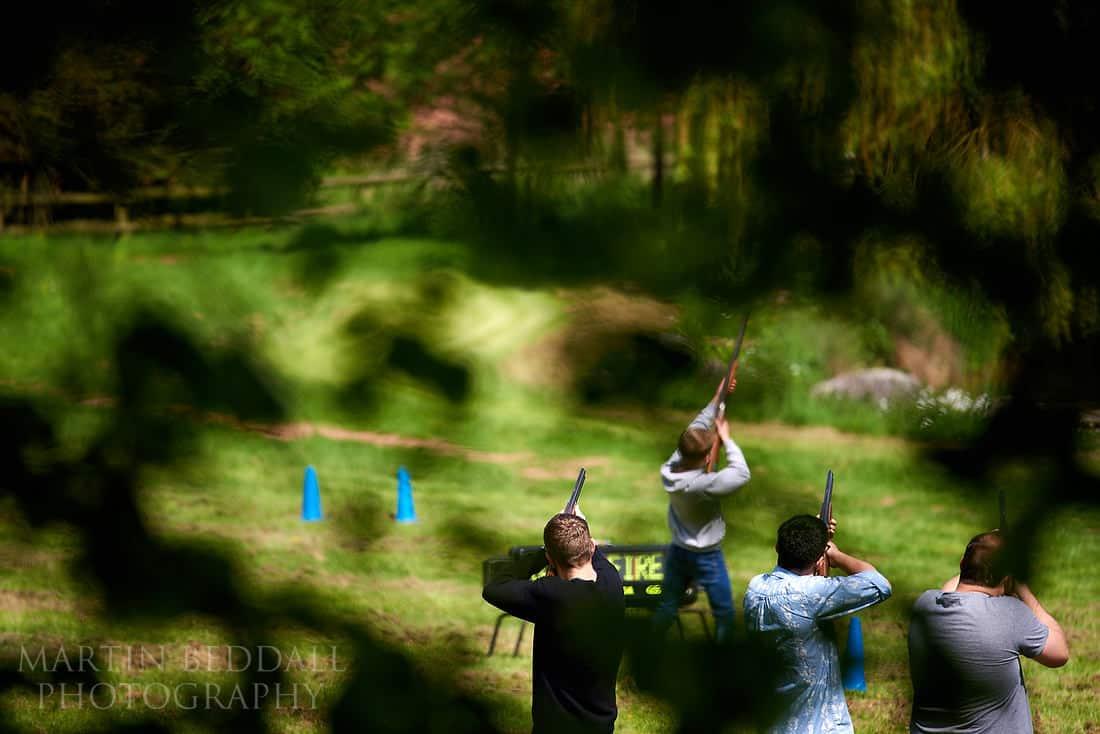 groom clay pigeon shooting