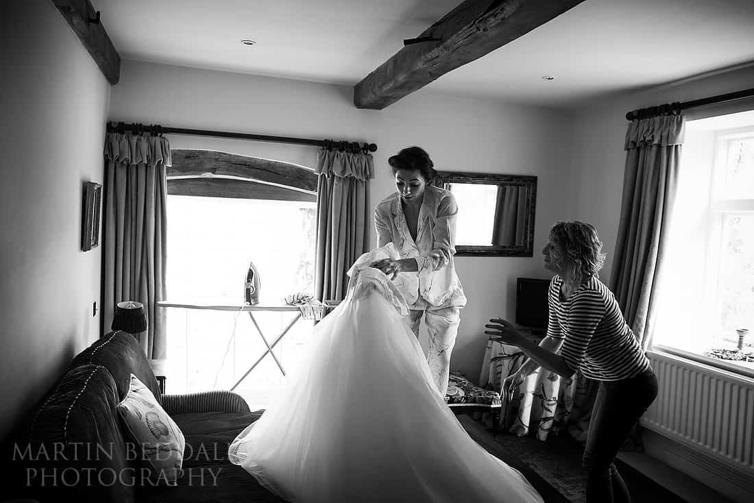 bride drops her wedding dress