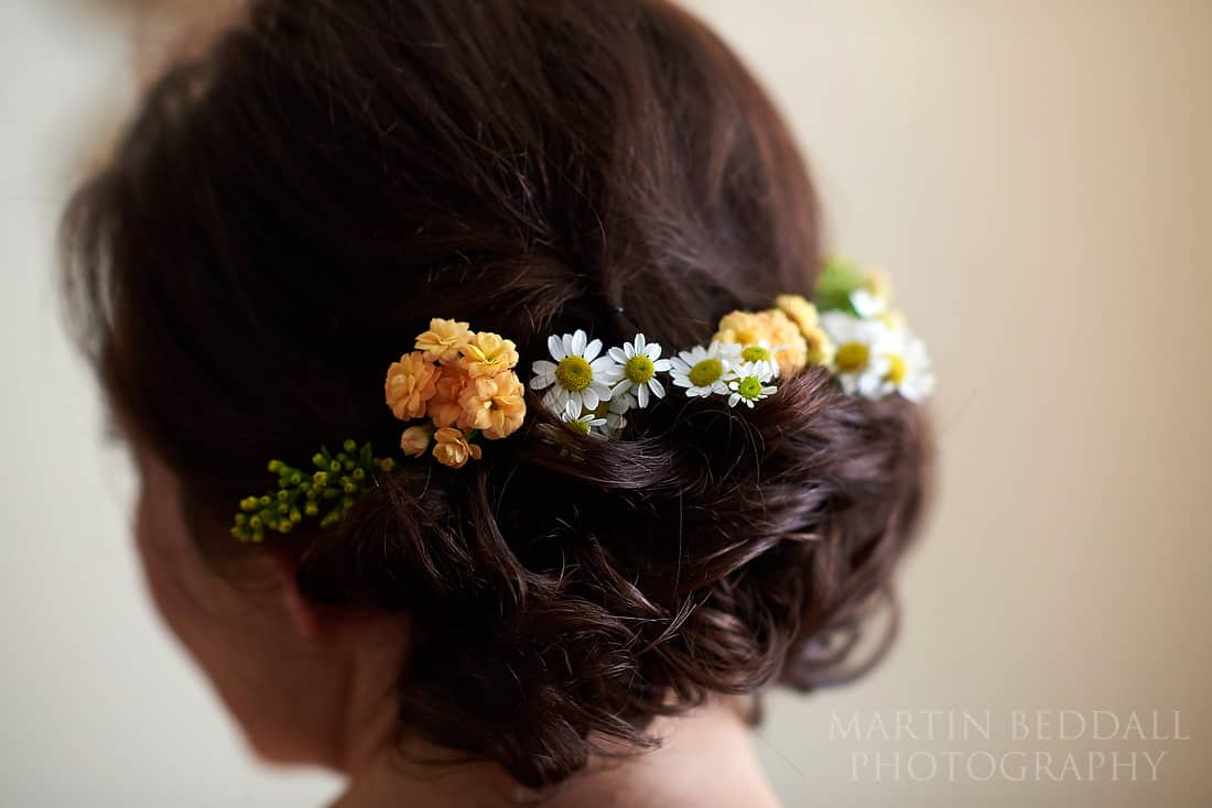 flowers in the bride's hair
