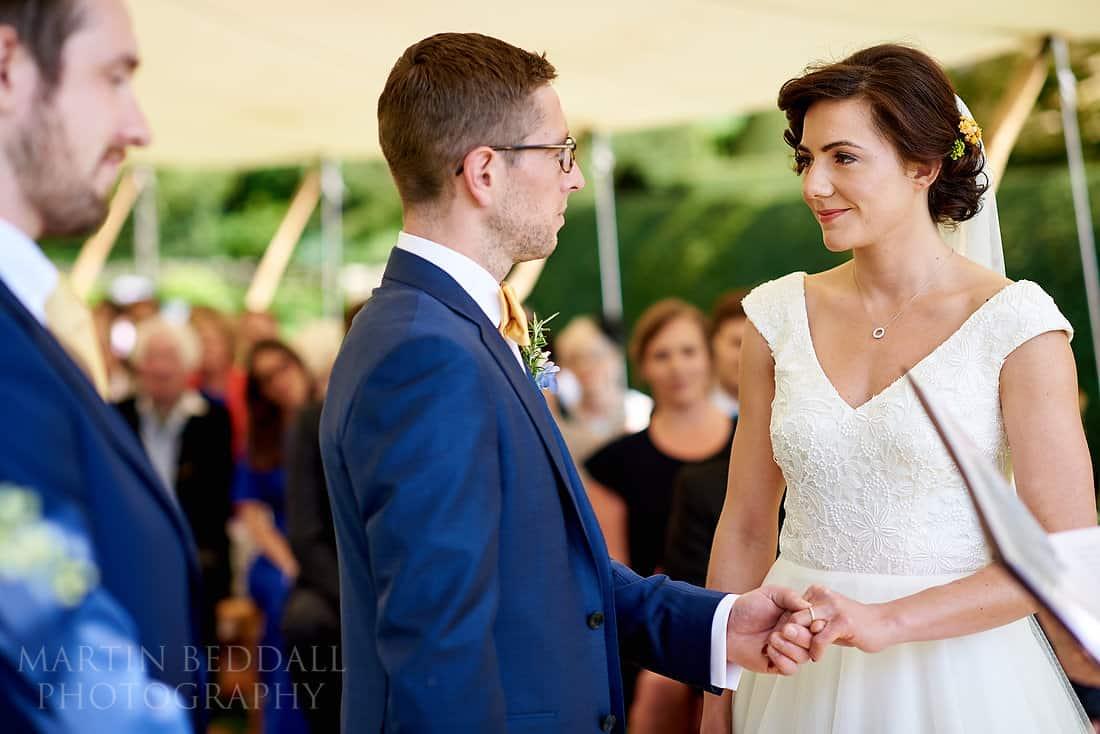 wedding ceremony at Dewsall Court