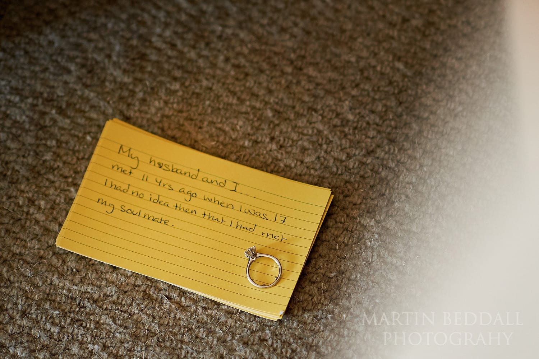Bride's speech notes