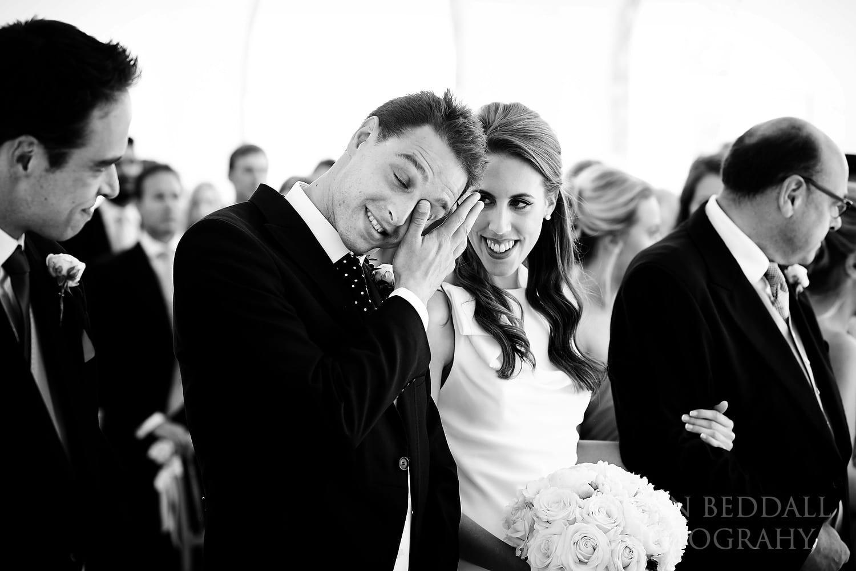 Tearful groom at Northbrook Park wedding