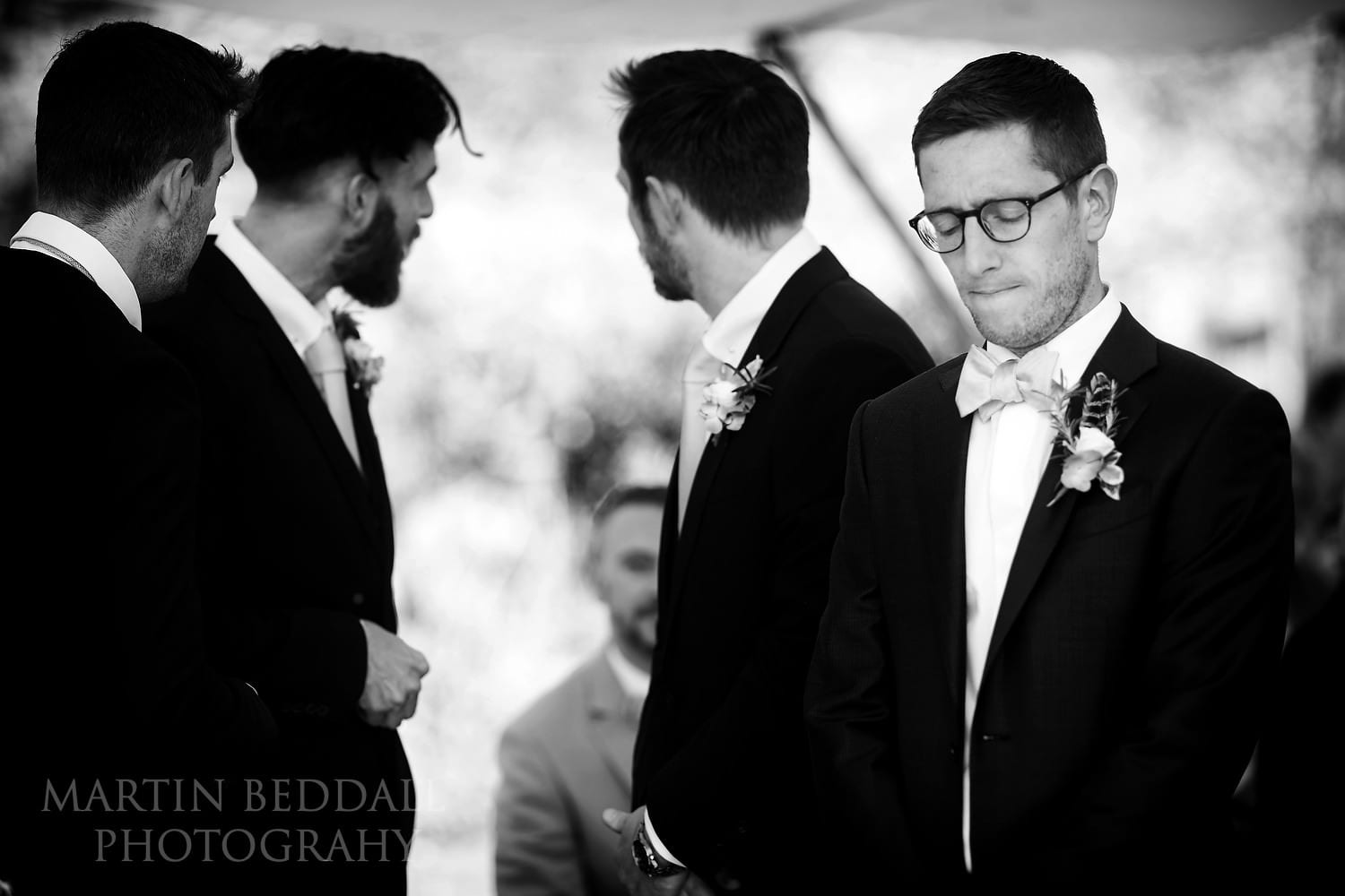 Groom waiting for the wedding ceremony to start