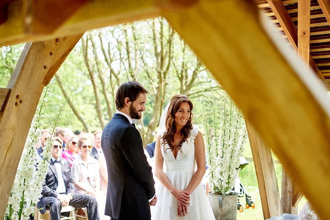 outdoor wedding ceremony at Millbridge Court