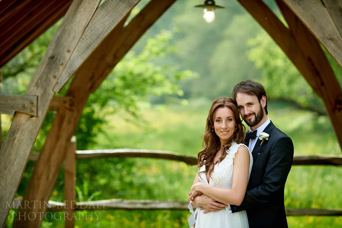 Bride and groom portrait at Millbridge Court