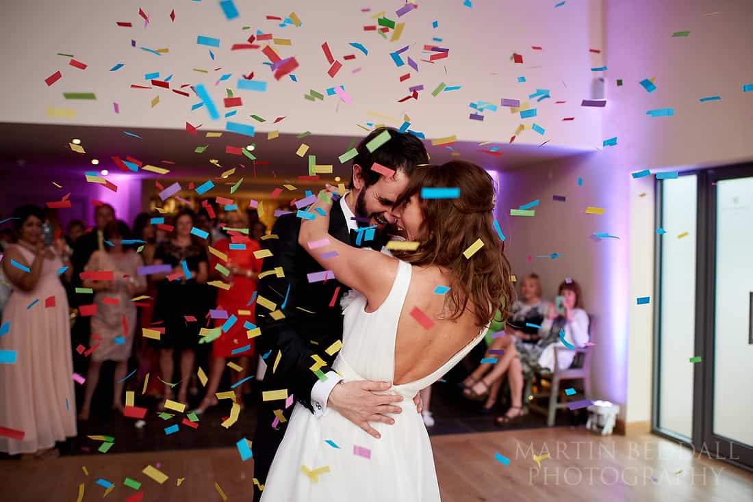 confetti cannon during the first dance