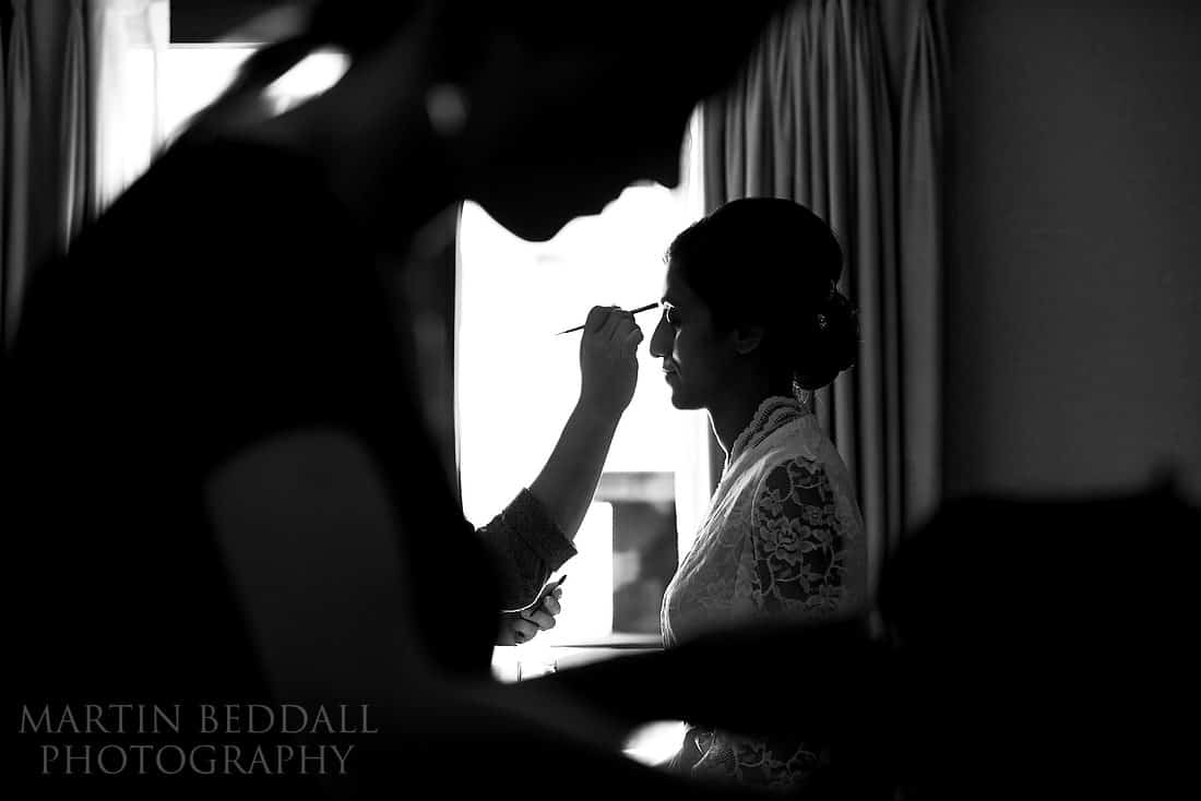 Bride gets redady at the Connaught hotel in London