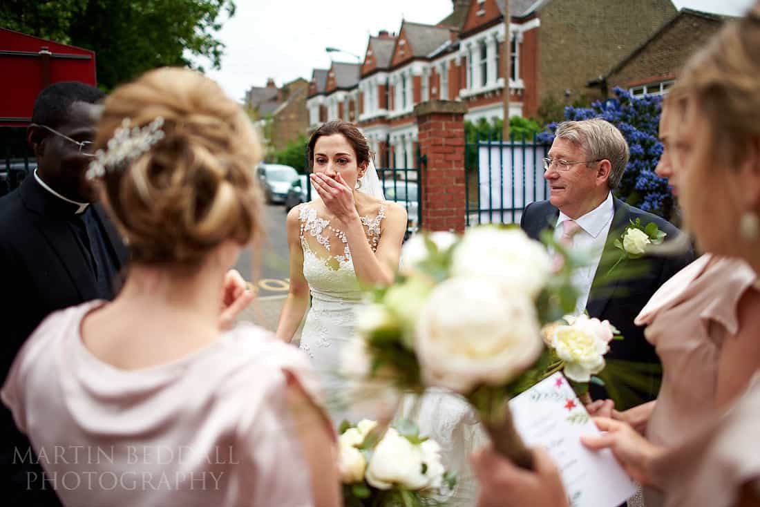 bride realizes she has forgotten her flowers