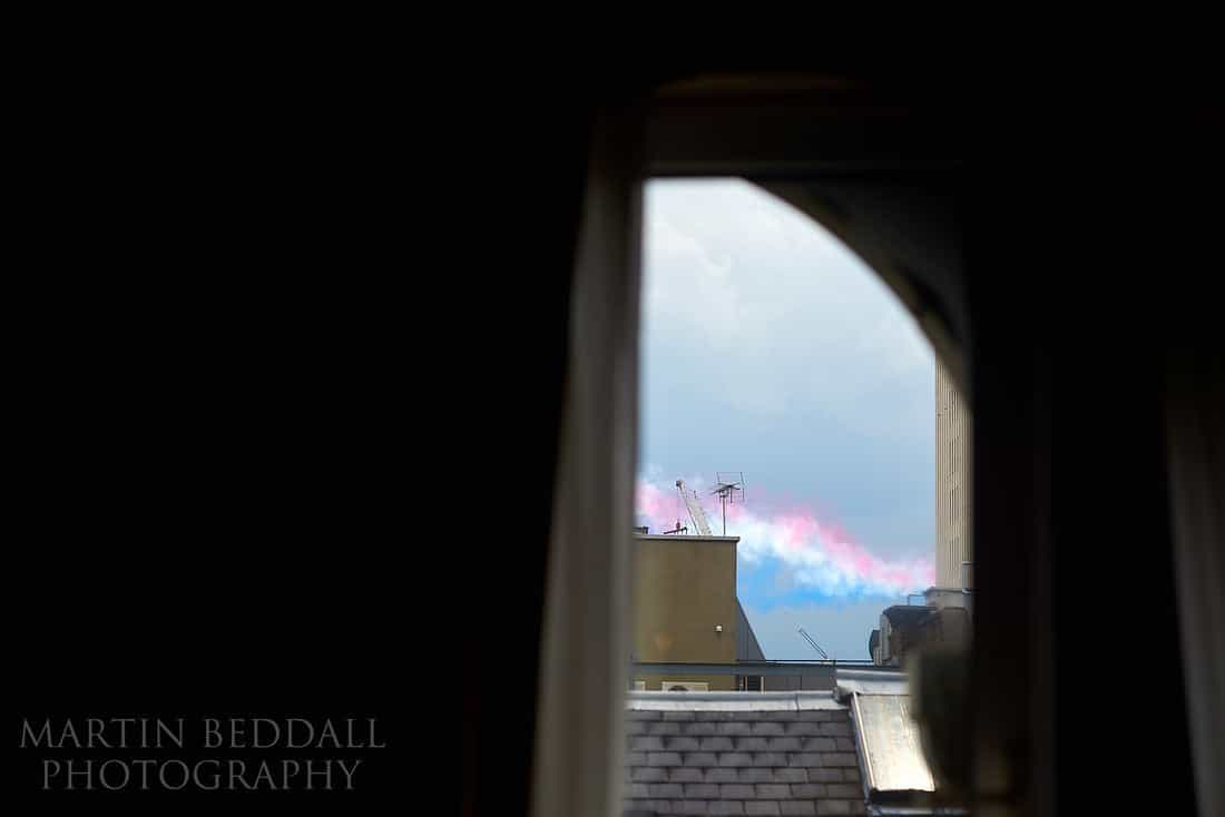 smoke from the red arrows