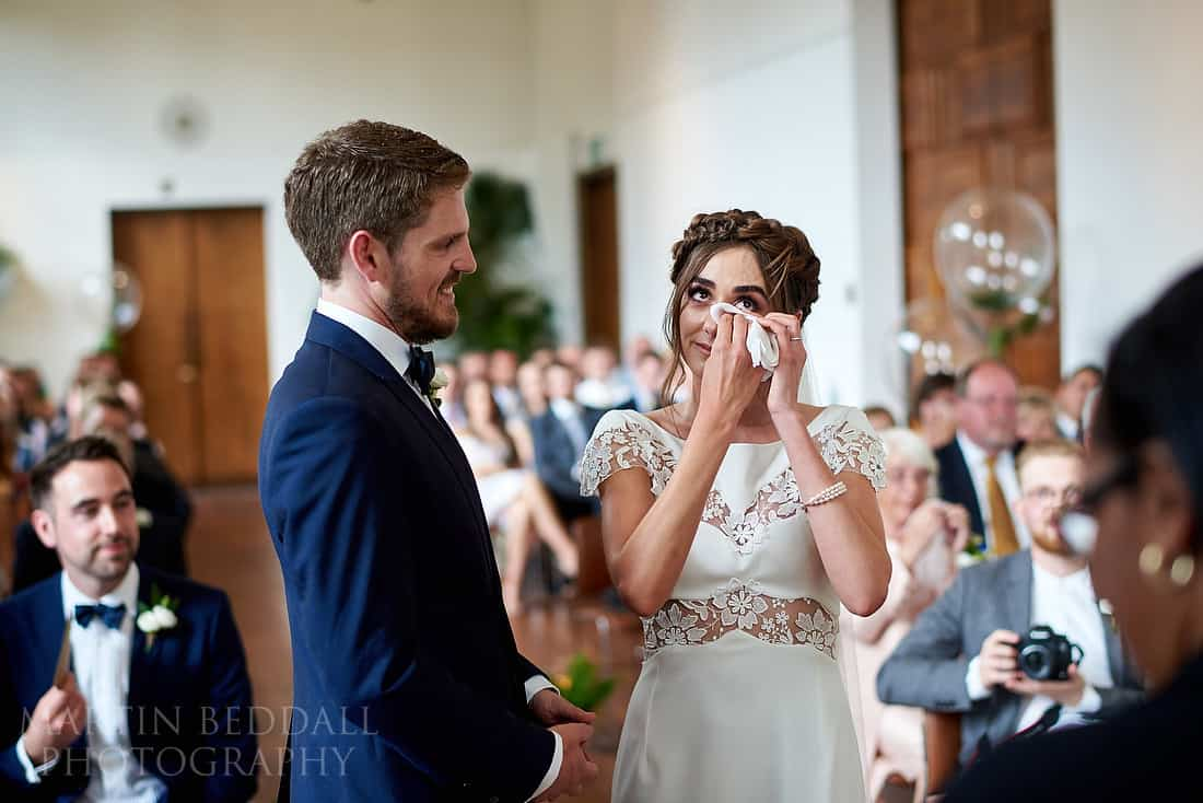 tearful bride during the wedding ceremony