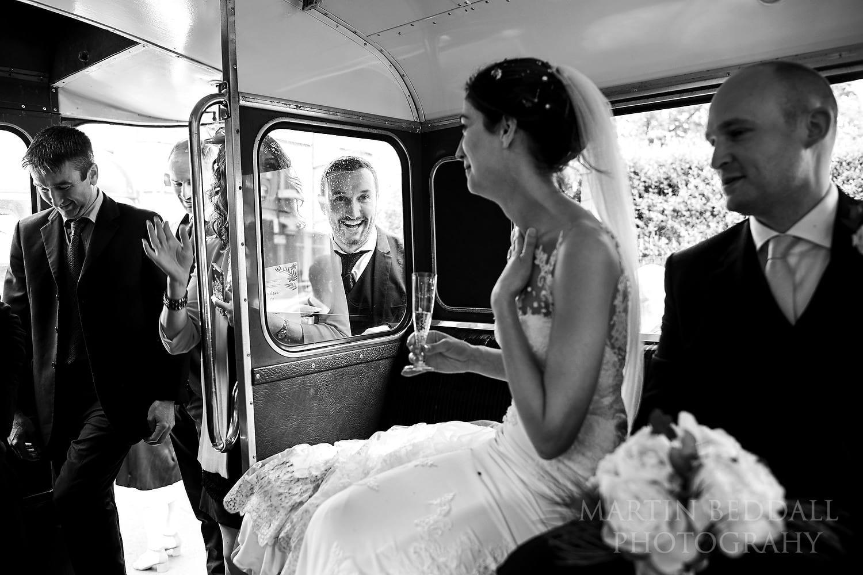 On the wedding bus