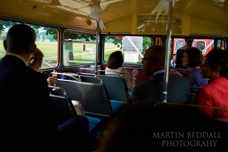 Wedding bus arriving at Hampton Court House