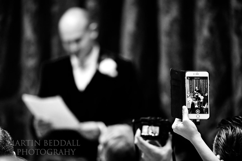 Filming the groom's speech