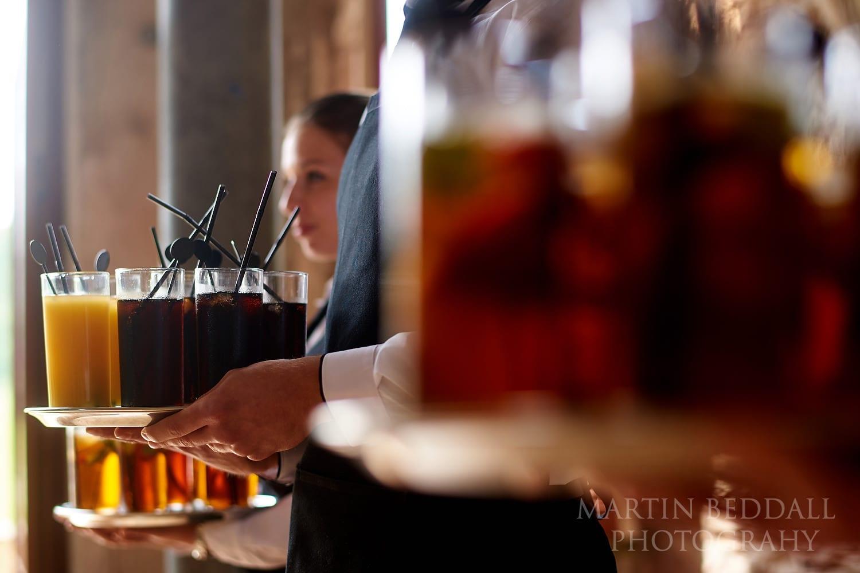 Drinks at Lulworth Castle wedding