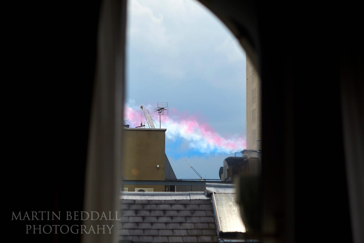 Smoke from Red Arrows flypast