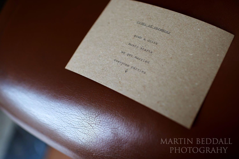 RIBA wedding card