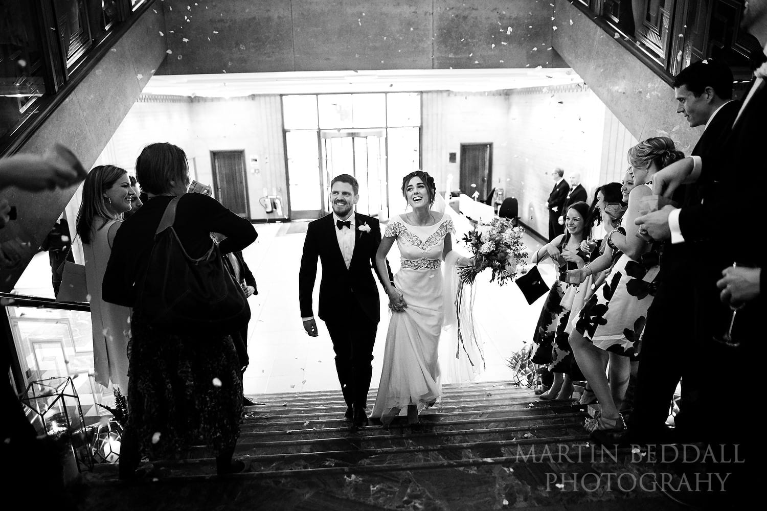 Confetti on the stairs at RIBA wedding