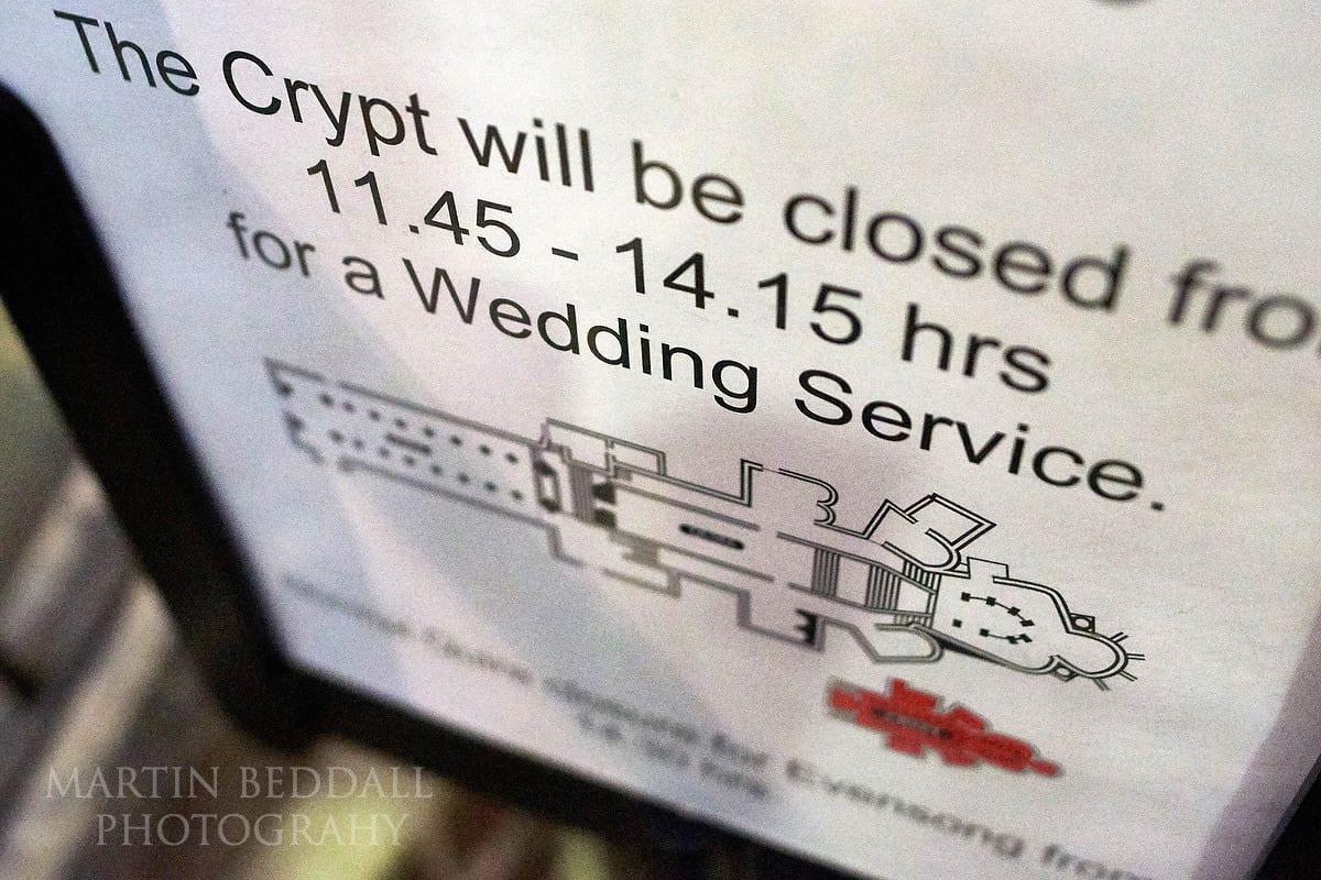 Wedding sign at Canterbury Cathedral