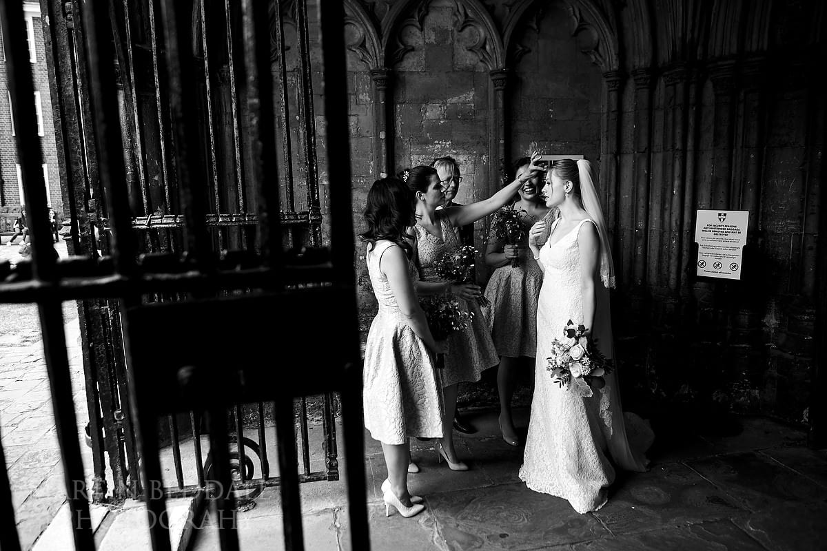 Bride arrives at Canterbury Cathedral