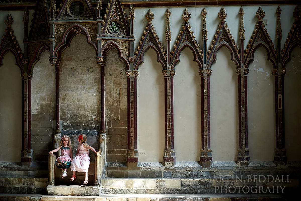 Young wedding guests at Canterbury Cathedral wedding