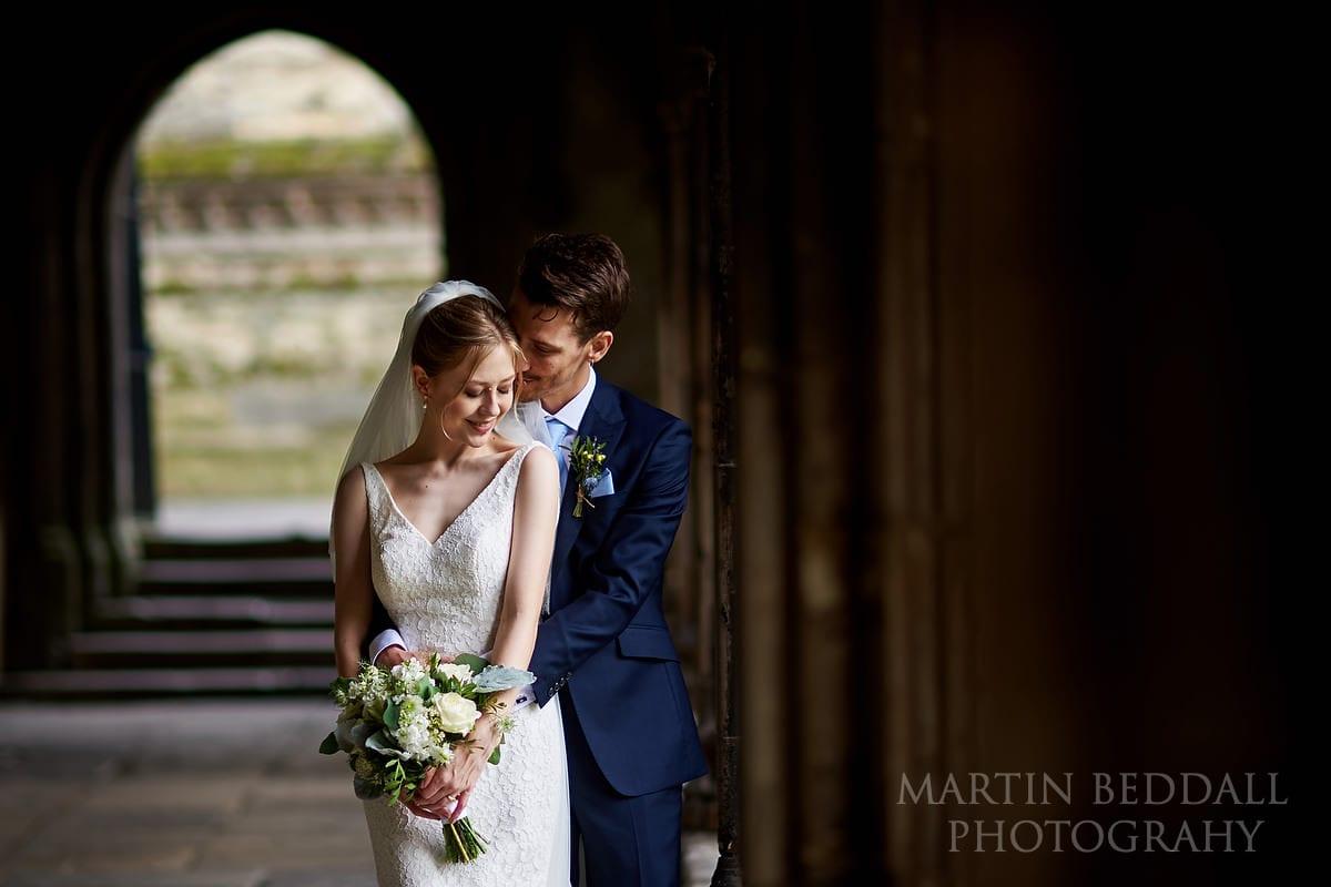 Couple portarit at Canterbury Cathedral wedding