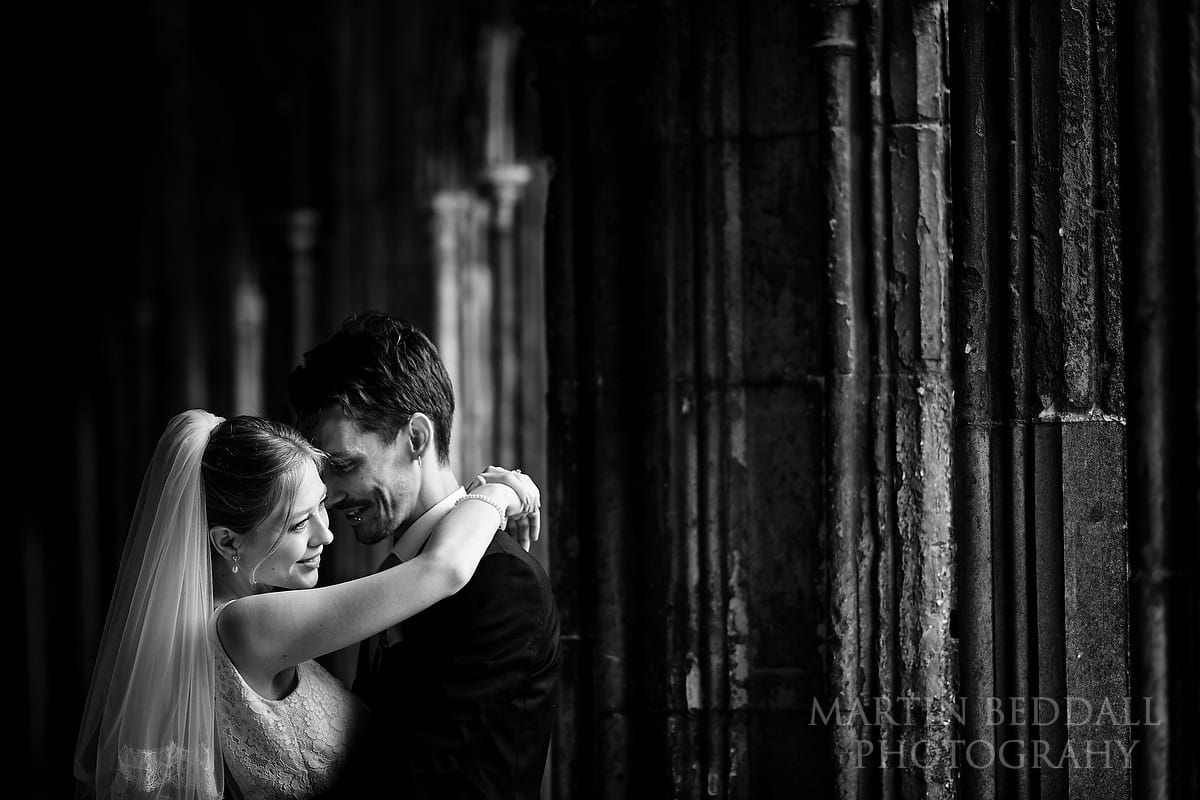 Bride and groom portrait at Canterbury Cathedral