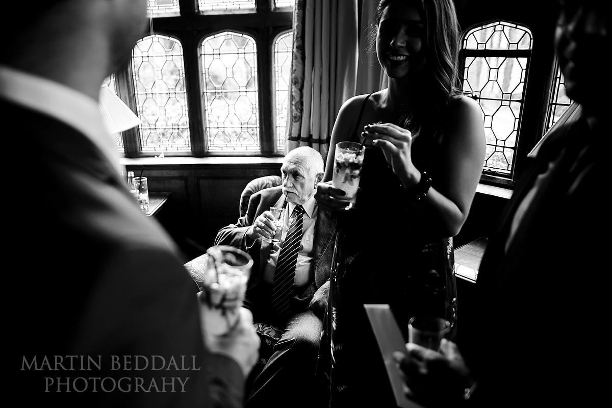 Drinks before the wedding ceremony at Hever Castle