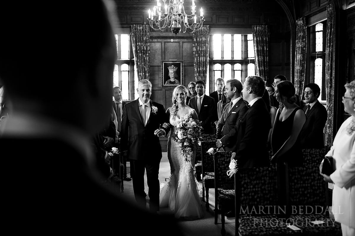 wedding ceremony begins in the Tudor Suite at Hever Castle