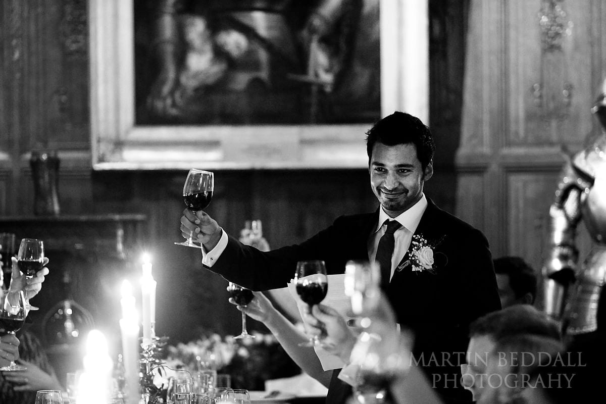 Wedding toast at Hever Castle