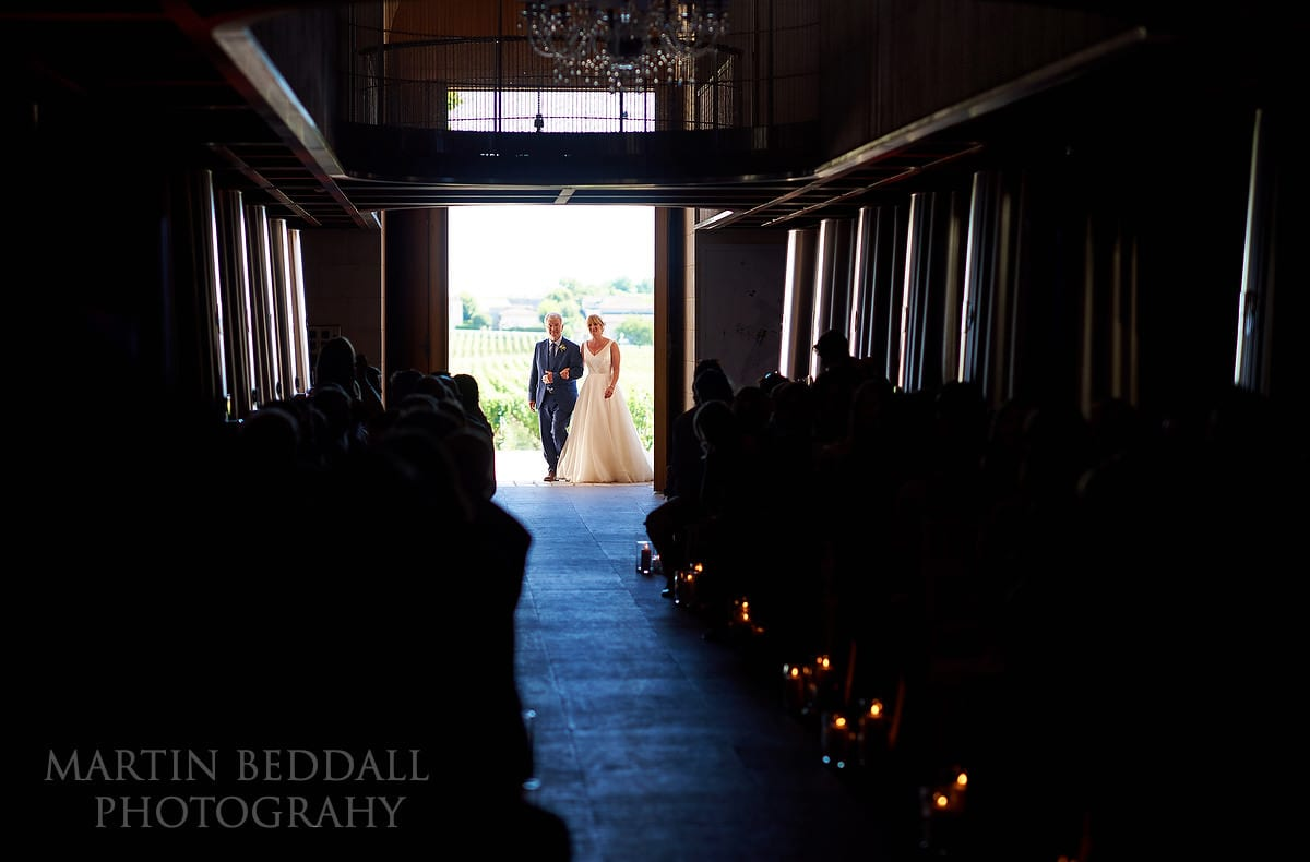 Start of the wedding ceremony at Château Soutard
