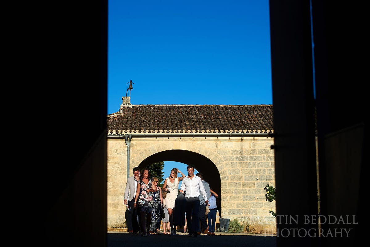 Wedding guests head into dinner at Château Soutard