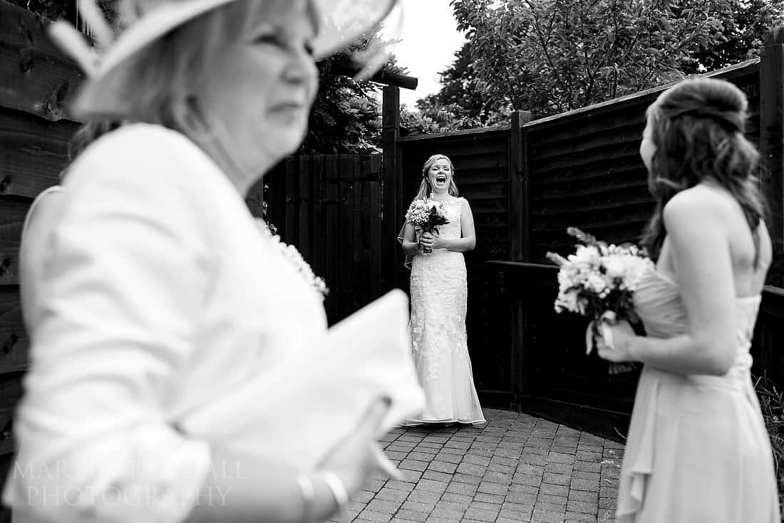 Bride arrives at Clock Barn