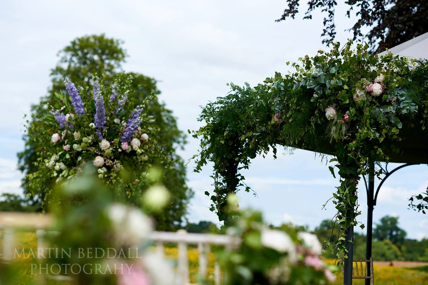 Flowers for outdoor wedding ceremony at Coworth Park