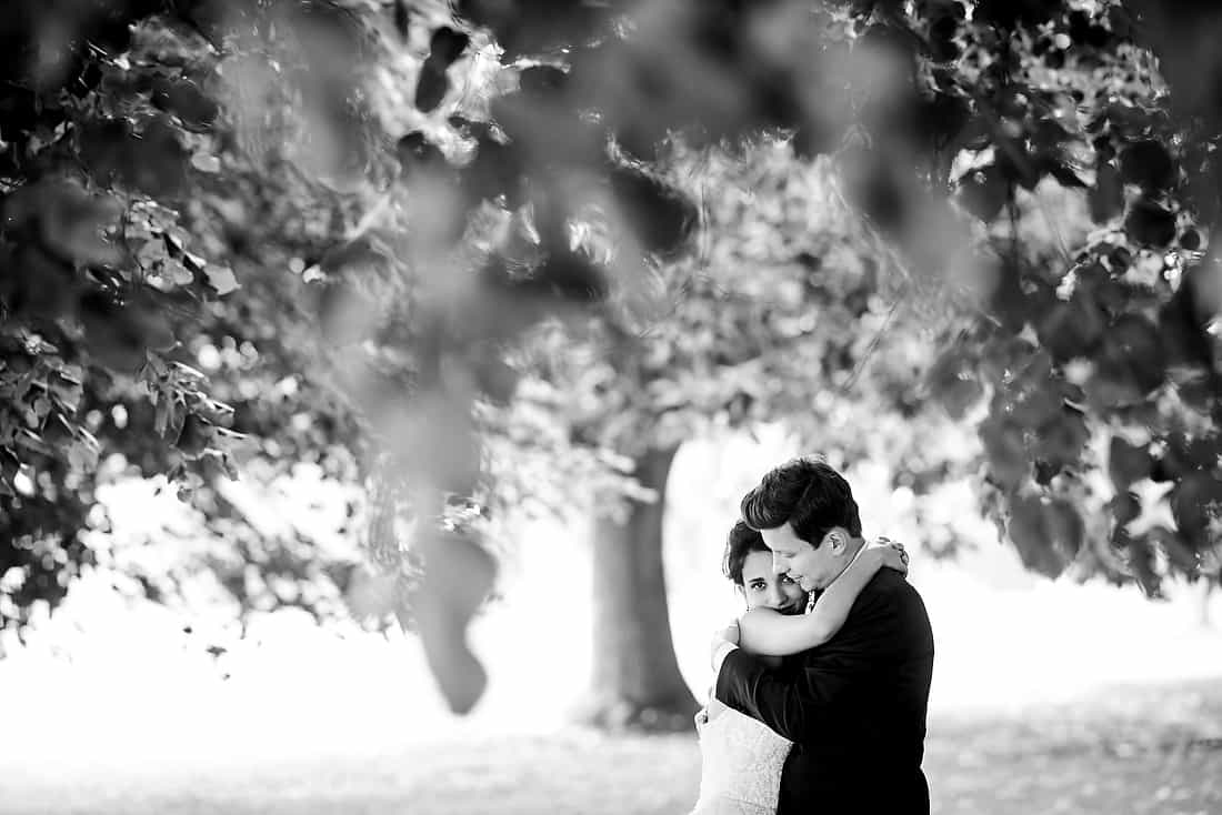 Bride and groom portrait at Goodwood House