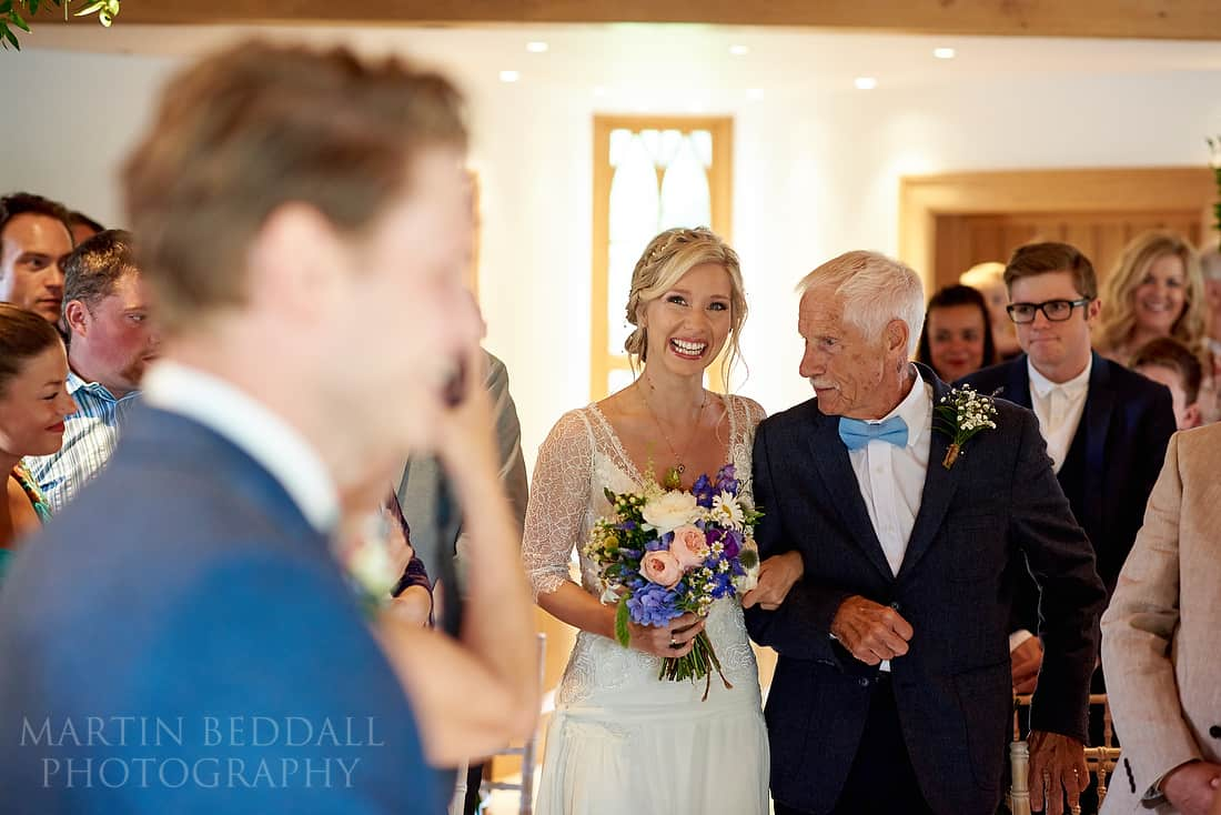 Bride arrives with her father