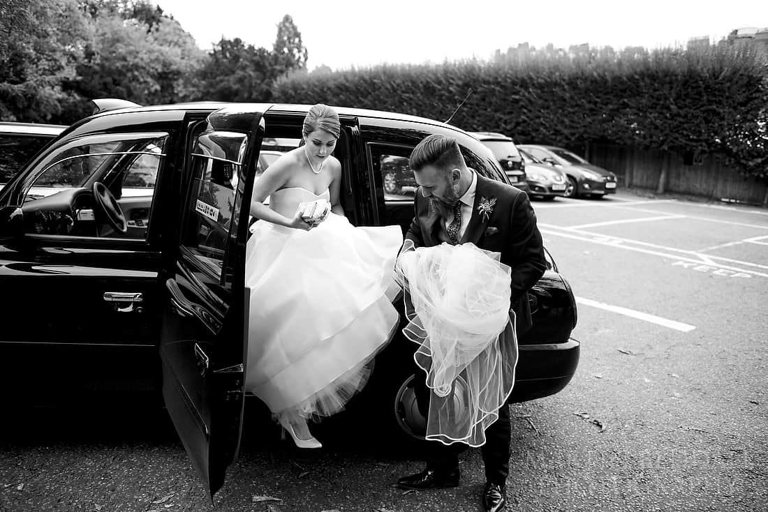 bride getting out of the cab
