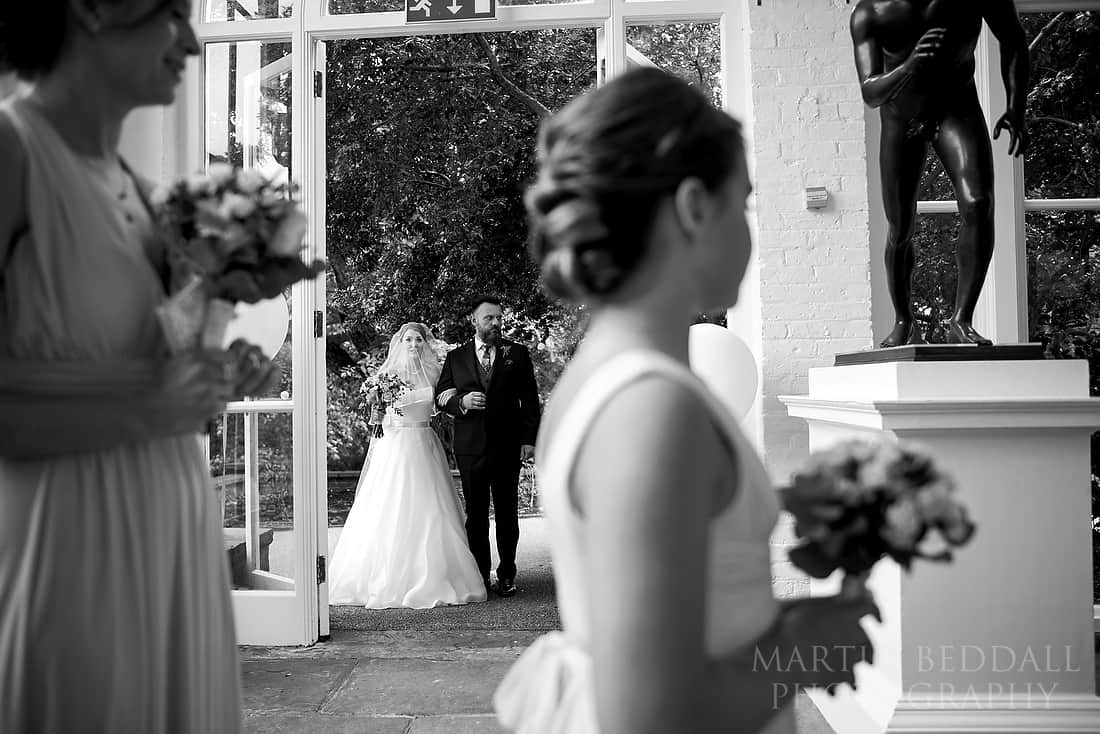 Bride about to enter The Orangery