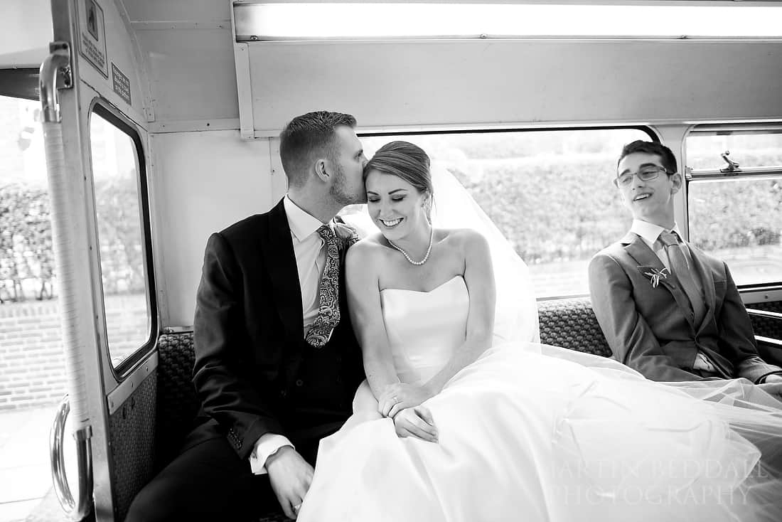 on the wedding bus