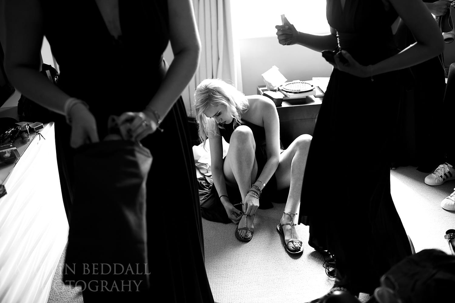 Bridesmaids getting reday at Goodwood Hotel