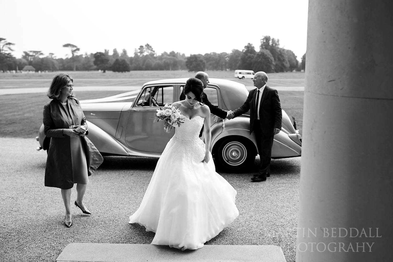 Bride arrives at Goodwood House wedding